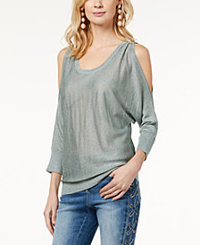 I.N.C. Petite Metallic Cold-Shoulder Sweater, Created for Macy's