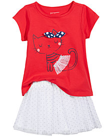 First Impressions Cat-Print T-Shirt & Tutu, Baby Girls, Created for Macy's