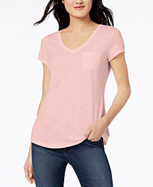 Maison Jules V-Neck Patch-Pocket T-Shirt, Created for Macy's