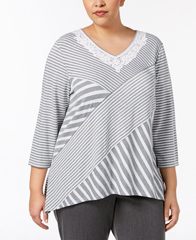 Alfred Dunner Plus Size Lakeshore Drive Spliced Crochet-Trim Top