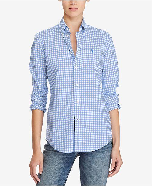 22e96577 Polo Ralph Lauren Slim-Fit Gingham Poplin Shirt & Reviews - Tops ...
