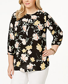 JM Collection Plus Size Pleated-Back Popover Top, Created for Macy's