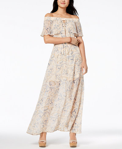 American Rag Juniors' Off-The-Shoulder Peasant Dress, Created for Macy's
