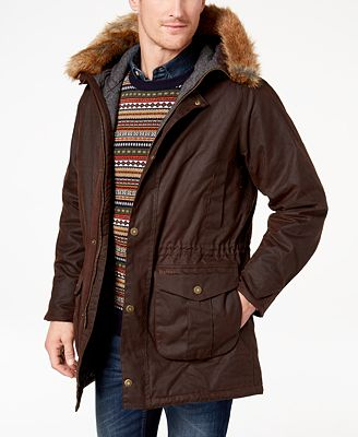 Barbour Men's Gisburne Parka with Faux-Fur Hood