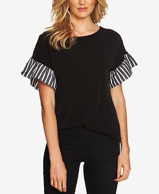 CeCe Contrast Flutter-Sleeve Top