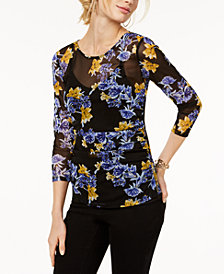 I.N.C. Petite Printed Illusion Top, Created for Macy's