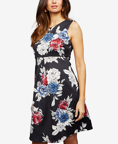 A Pea in the Pod Maternity Floral-Print A-Line Dress