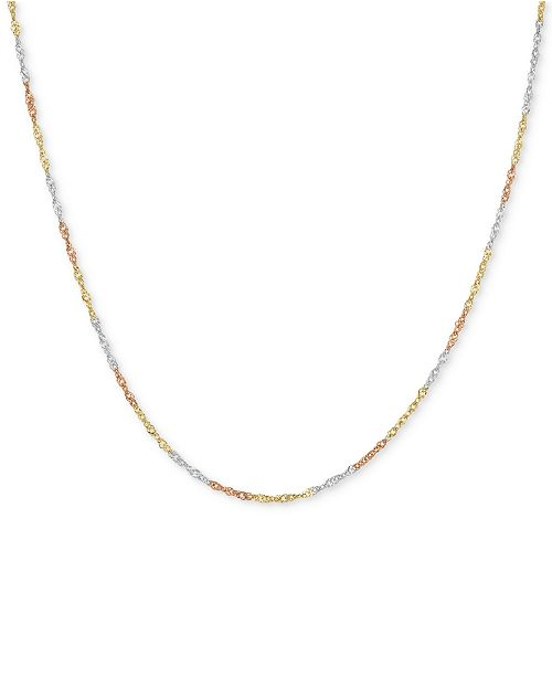 "Macy's 18"" Tri-Color Singapore Chain Necklace (2-5/8mm) in 14k Gold, White Gold & Rose Gold"