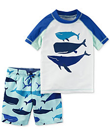 Carter's 2-Pc. Whale Rash Guard & Printed Swim Trunks Set, Toddler Boys