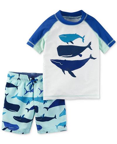 Carter's 2-Pc. Whale Rash Guard & Printed Swim Trunks Set, Toddler Boys