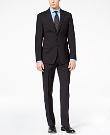 Calvin Klein Men's Slim-Fit Black Mini-Grid Suit