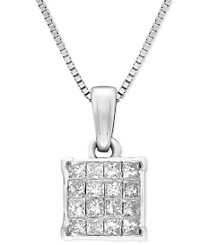 "Diamond Square Cluster 18"" Pendant Necklace (1/2 ct. t.w.) in 14k White Gold"