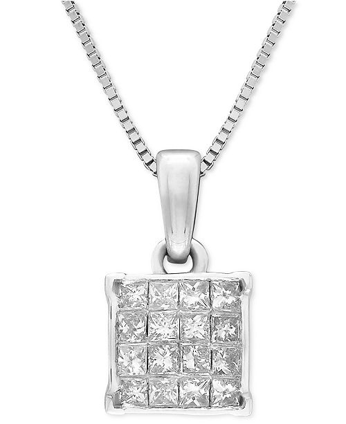 "Macy's Diamond Square Cluster 18"" Pendant Necklace (1/2 ct. t.w.) in 14k White Gold"