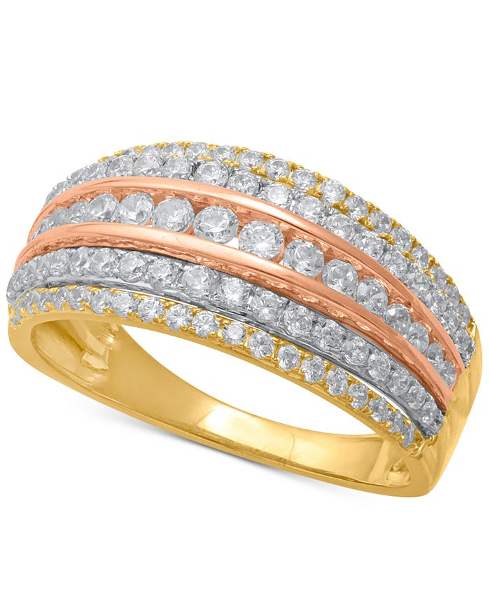 Macy's - Diamond Tri-Color Multi-Row Statement Ring (1 ct. t.w.) in 14k Gold, Rose Gold & White Rhodium-Plate