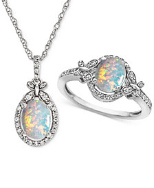 Lab Created Opal (1-1/3 ct. t.w.) & White Sapphire (3/4 ct. t.w.) Pendant Necklace & Ring in Sterling Silver