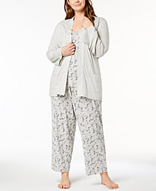 Charter Club Plus Size 3-Piece Pajama Set, Created for Macy's