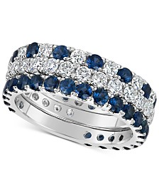Sapphire (2-1/3 ct. t.w.) & Diamond (1-1/3 ct. t.w.) 3-Pc. Set of Stacking Rings in 14k White Gold