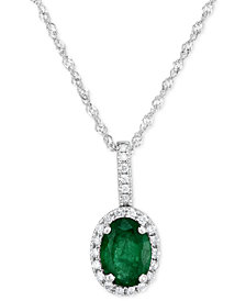 "Emerald (3/4 ct. t.w.) & Diamond (1/10 ct. t.w.) 18"" Pendant Necklace in 14k White Gold"