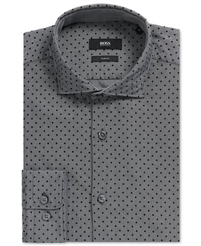BOSS Men's Slim-Fit Polka-Dot-Print Cotton Sport Shirt