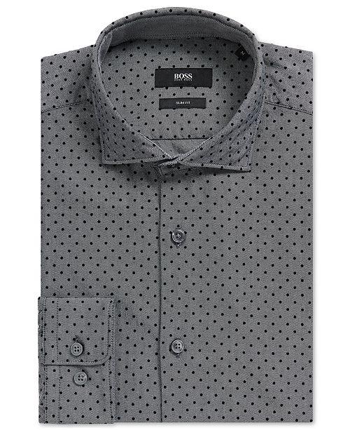 5ad07e1f029 Hugo Boss BOSS Men's Slim-Fit Polka-Dot-Print Cotton Sport Shirt ...