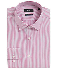 BOSS Men's Slim-Fit Pinstriped Stretch Cotton Dress Shirt