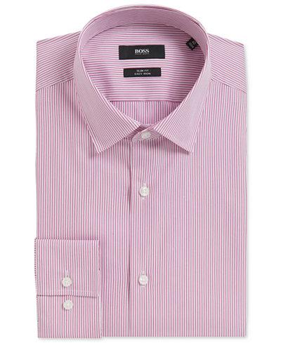 BOSS Men's Slim-Fit Pinstriped Stretch Cotton Dress Shirt