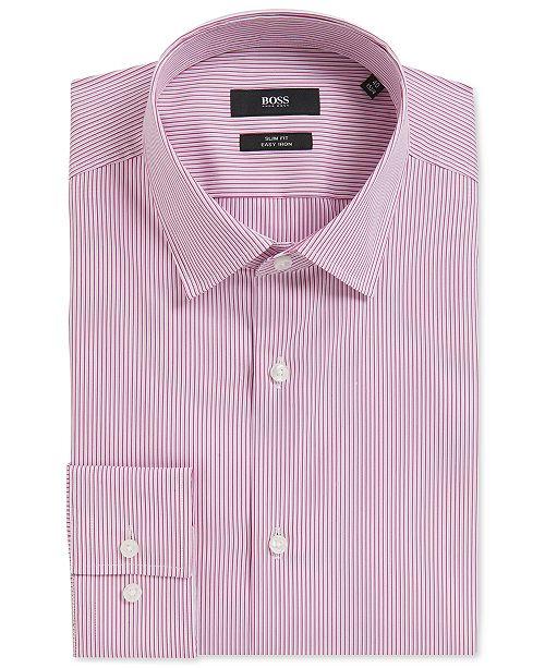 Hugo Boss BOSS Men's Slim-Fit Pinstriped Stretch Cotton Dress Shirt