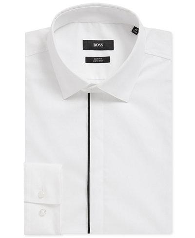 BOSS Men's Slim-Fit Piped Cotton Dress Shirt