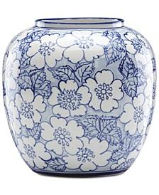 Painted Indigo Floral Round Vase