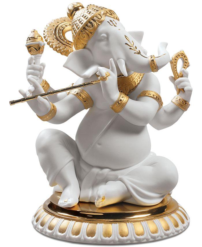 Lladró - Bansuri Ganesha Golden Re-Deco Figurine