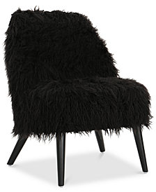 Lucee Faux Fur Accent Chair, Quick Ship