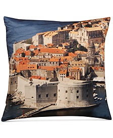 "LAST ACT! Hallmart Collectibles Dubrovnik Graphic-Print 18"" Square Decorative Pillow"