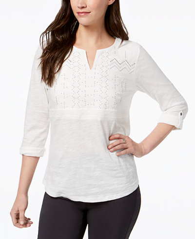 Style & Co Embellished Split-Neck Top, Created for Macy's