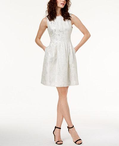 Anne Klein Metallic Jacquard Fit & Flare Dress