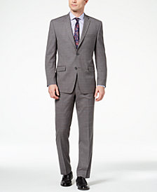 Marc New York by Andrew Marc Men's Classic-Fit Stretch Medium Gray Windowpane Suit