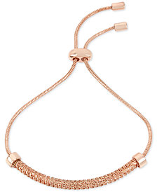 Kenneth Cole New York Rose Gold-Tone Textured Chain & Cubic Zirconia Slider Bracelet