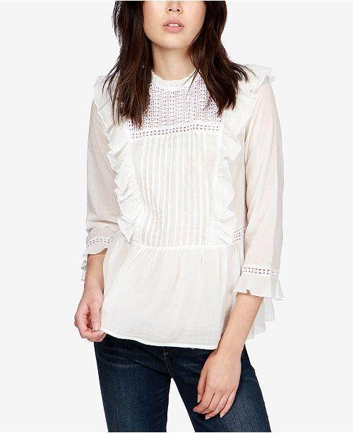 Lucky Brand Cotton Ruffled Crochet-Contrast Top