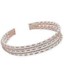 I.N.C. Rose Gold-Tone Crystal & Imitation Pearl Multi-Row Choker Necklace, Created for Macy's