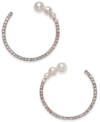 INC Rose GoldTone Pav Imitation Pearl Open Hoop Earrings