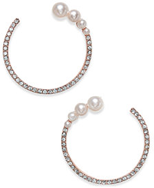 I.N.C. Rose Gold-Tone Pavé & Imitation Pearl Open Hoop Earrings, Created for Macy's