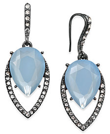 I.N.C. Hematite-Tone Pavé & Blue Stone Drop Earrings, Created for Macy's