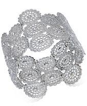I.N.C. Silver-Tone Crystal Filigree Disc Stretch Bracelet, Created for Macy's