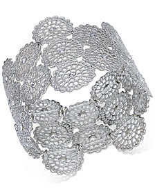 I.N.C. Silver-Tone Crystal Filigree Disc Stretch Bracelet, Created for Macy's