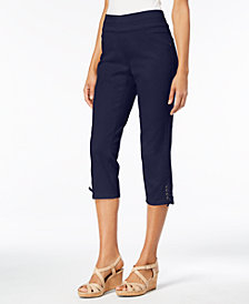 Style & Co Petite Lace-Up Capri Pants, Created for Macy's