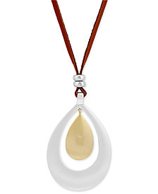 "Lucky Brand Two-Tone Cognac Leather 32"" Pendant Necklace"