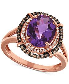 Amethyst (2-1/4 ct. t.w.) & Diamond (1/4 ct. t.w.) Statement Ring in 14k Rose Gold