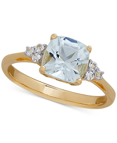 Aquamarine (1 ct. t.w.) & White Topaz (3/7 ct. t.w.) Ring in 10k Gold
