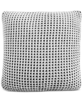 "Two-Tone Knit 20"" Square Decorative Pillow, Created for Macy's"