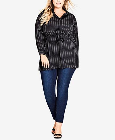 City Chic Trendy Plus Size Drawstring-Waist Shirt