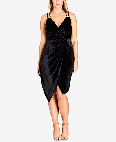 City Chic Trendy Plus Size Velvet Hardware Dress